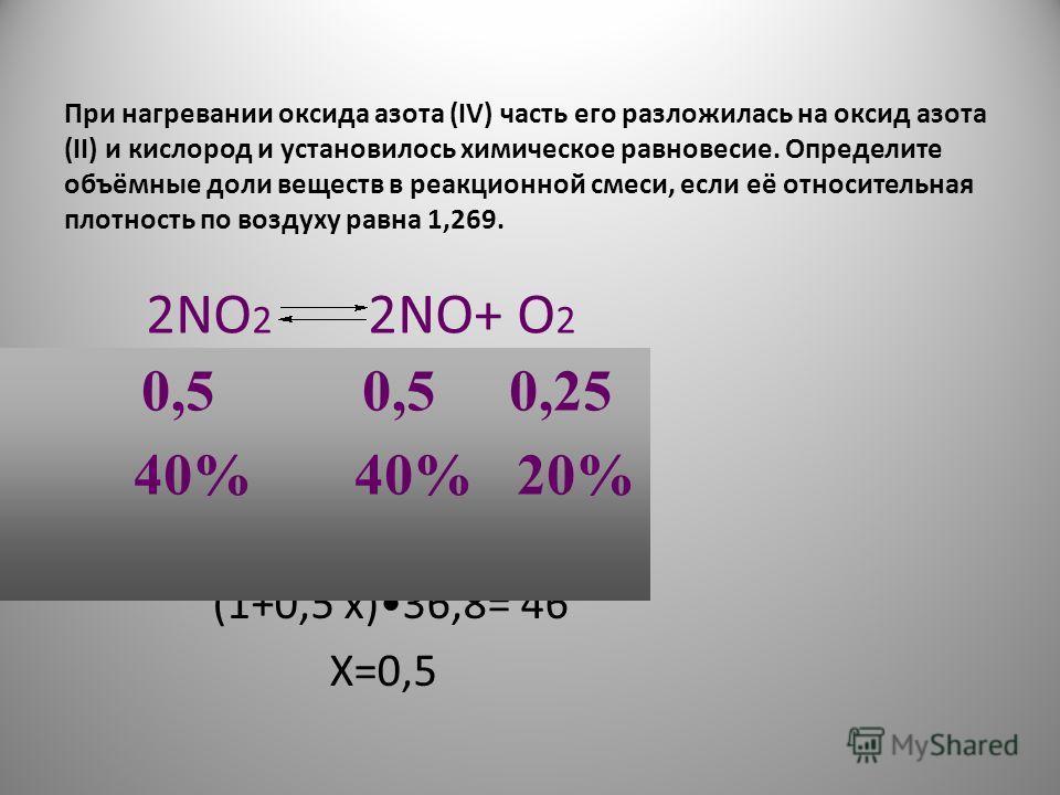 При нагревании оксида азота (IV) часть его разложилась на оксид азота (II) и кислород и установилось химическое равновесие. Определите объёмные доли веществ в реакционной смеси, если её относительная плотность по воздуху равна 1,269. 2NO 2 2NO+ O 2 М