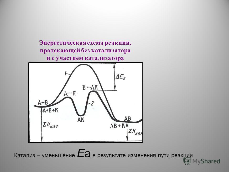 Катализ – уменьшение Ea в результате изменения пути реакции Энергетическая схема реакции, протекающей без катализатора и с участием катализатора