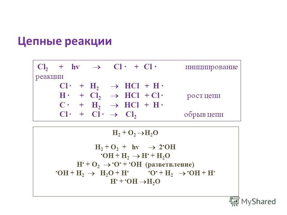 Цепные реакции Cl 2 + hv Cl · + Cl инициирование реакции Cl · + H 2 HCl + H · H · + Cl 2 HCl + Cl · рост цепи C · + H 2 HCl + H · Cl · + Cl · Cl 2 обрыв цепи Н 2 + О 2 Н 2 О Н 2 + О 2 + hv 2 ОН ОН + Н 2 Н + Н 2 О Н + О 2 О + ОН (разветвление) ОН + Н