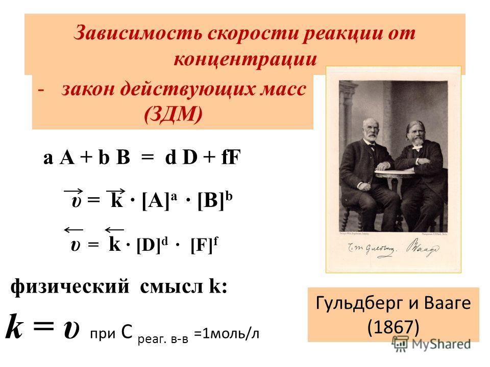Зависимость скорости реакции от концентрации Гульдберг и Вааге (1867) -закон действующих масс (ЗДМ) физический смысл k: k = υ при С реаг. в-в =1 моль/л a A + b B = d D + fF υ = k · [A] a · [B] b υ = k · [D] d · [F] f