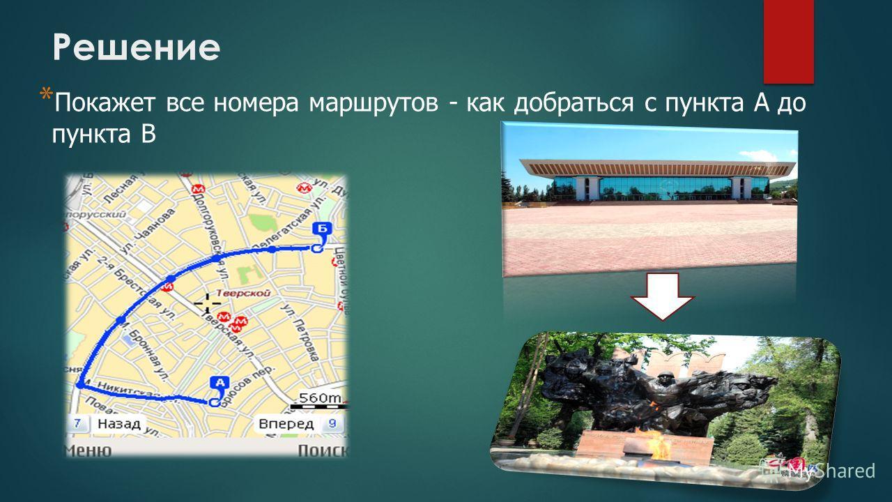 * Покажет все номера маршрутов - как добраться с пункта А до пункта В Решение