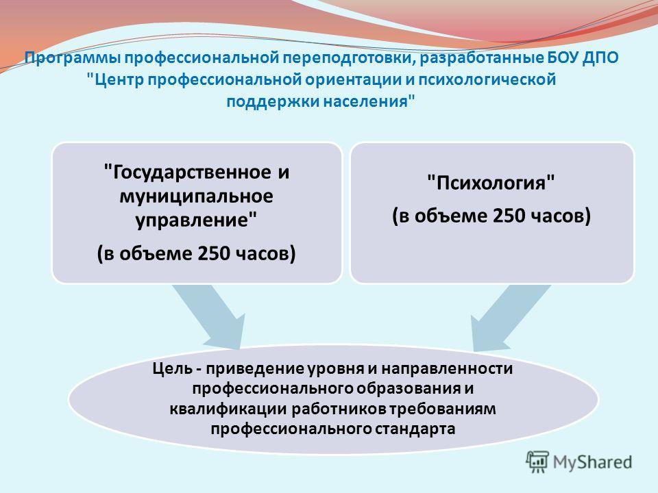 Программы профессиональной переподготовки, разработанные БОУ ДПО