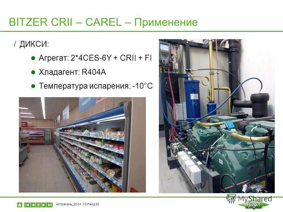 Астрахань_2014 // Слайд 20 /ДИКСИ: Агрегат: 2*4СES-6Y + CRII + FI Хладагент: R404A Температура испарения: -10°C