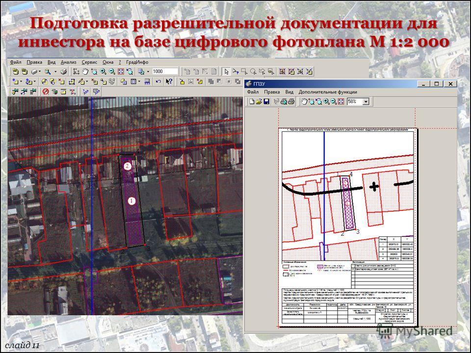 Подготовка разрешительной документации для инвестора на базе цифрового фотоплана М 1:2 000 слайд 11