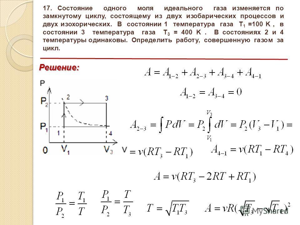 17. Состояние одного моля идеального газа изменяется по замкнутому циклу, состоящему из двух изобарических процессов и двух изохорических. В состоянии 1 температура газа T 1 =100 K, в состоянии 3 температура газа T 3 = 400 K. В состояниях 2 и 4 темпе