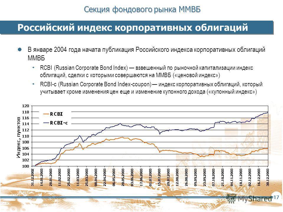 Секция фондового рынка ММВБ 17 Российский индекс корпоративных облигаций В январе 2004 года начата публикация Российского индекса корпоративных облигаций ММВБ ۰ RCBI (Russian Corporate Bond Index) взвешенный по рыночной капитализации индекс облигаций