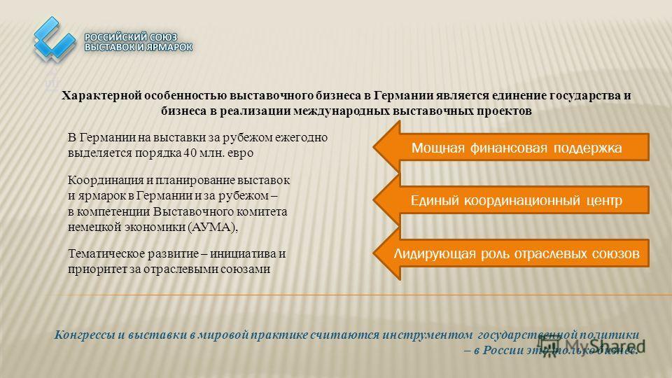 Конгрессы и выставки в мировой практике считаются инструментом государственной политики – в России это только бизнес. В Германии на выставки за рубежом ежегодно выделяется порядка 40 млн. евро Координация и планирование выставок и ярмарок в Германии