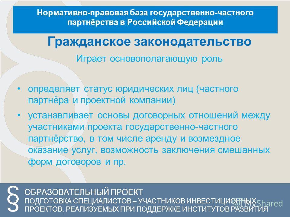 ОБРАЗОВАТЕЛЬНЫЙ ПРОЕКТ ПОДГОТОВКА СПЕЦИАЛИСТОВ – УЧАСТНИКОВ ИНВЕСТИЦИОННЫХ ПРОЕКТОВ, РЕАЛИЗУЕМЫХ ПРИ ПОДДЕРЖКЕ ИНСТИТУТОВ РАЗВИТИЯ Нормативно-правовая база государственно-частного партнёрства в Российской Федерации Гражданское законодательство Играет