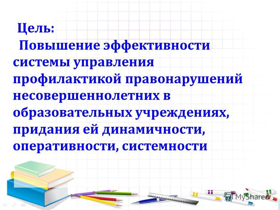 Цель: Повышение эффективности системы управления профилактикой правонарушений несовершеннолетних в образовательных учреждениях, придания ей динамичности, оперативности, системности