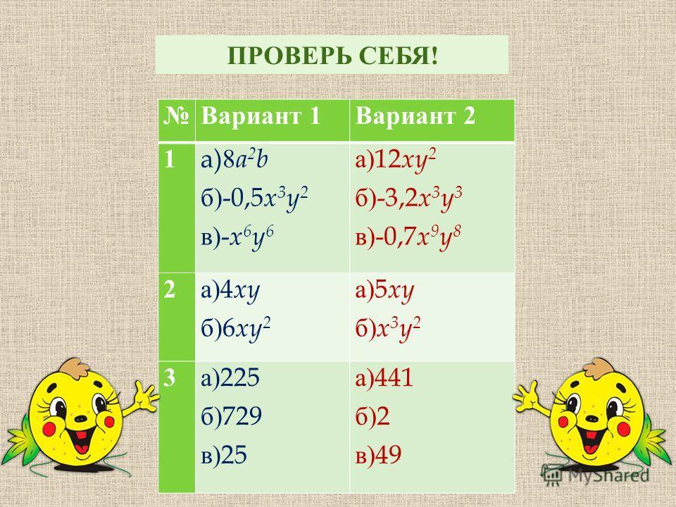 Вариант 1 Вариант 2 1 a)8 a 2 b б )-0,5 x 3 y 2 в )- x 6 y 6 а )12 xy 2 б )-3,2 x 3 y 3 в )-0,7 x 9 y 8 2 а )4 xy б )6 xy 2 а )5 xy б ) x 3 y 2 3 а )225 б )729 в )25 а )441 б )2 в )49 ПРОВЕРЬ СЕБЯ !