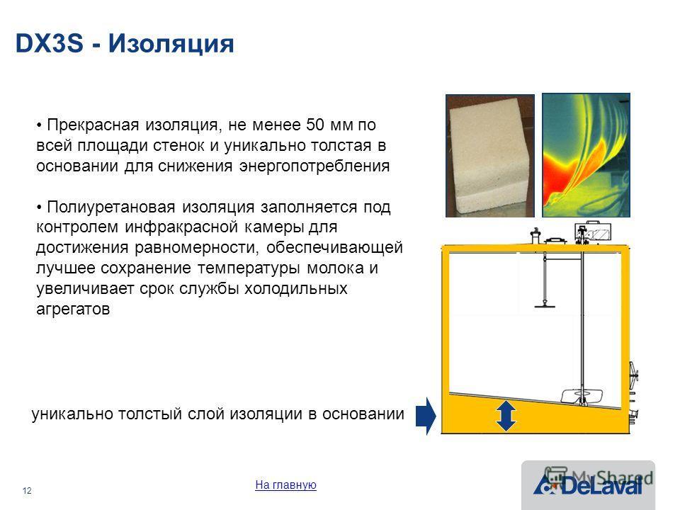 12 DX3S - Изоляция Прекрасная изоляция, не менее 50 мм по всей площади стенок и уникально толстая в основании для снижения энергопотребления Полиуретановая изоляция заполняется под контролем инфракрасной камеры для достижения равномерности, обеспечив