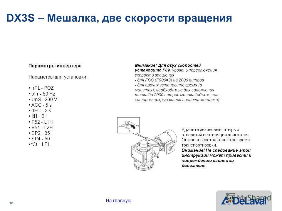 16 DX3S – Мешалка, две скорости вращения Удалите резиновый штырь с отверстия вентиляции двигателя. Он используется только во время транспортировки. Внимание! Не следование этой инструкции может привести к повреждению изоляции двигателя. Внимание! Для