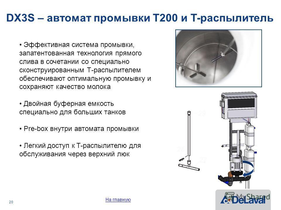 20 DX3S – автомат промывки T200 и T-распылитель Эффективная система промывки, запатентованная технология прямого слива в сочетании со специально сконструированным Т-распылителем обеспечивают оптимальную промывку и сохраняют качество молока Двойная бу