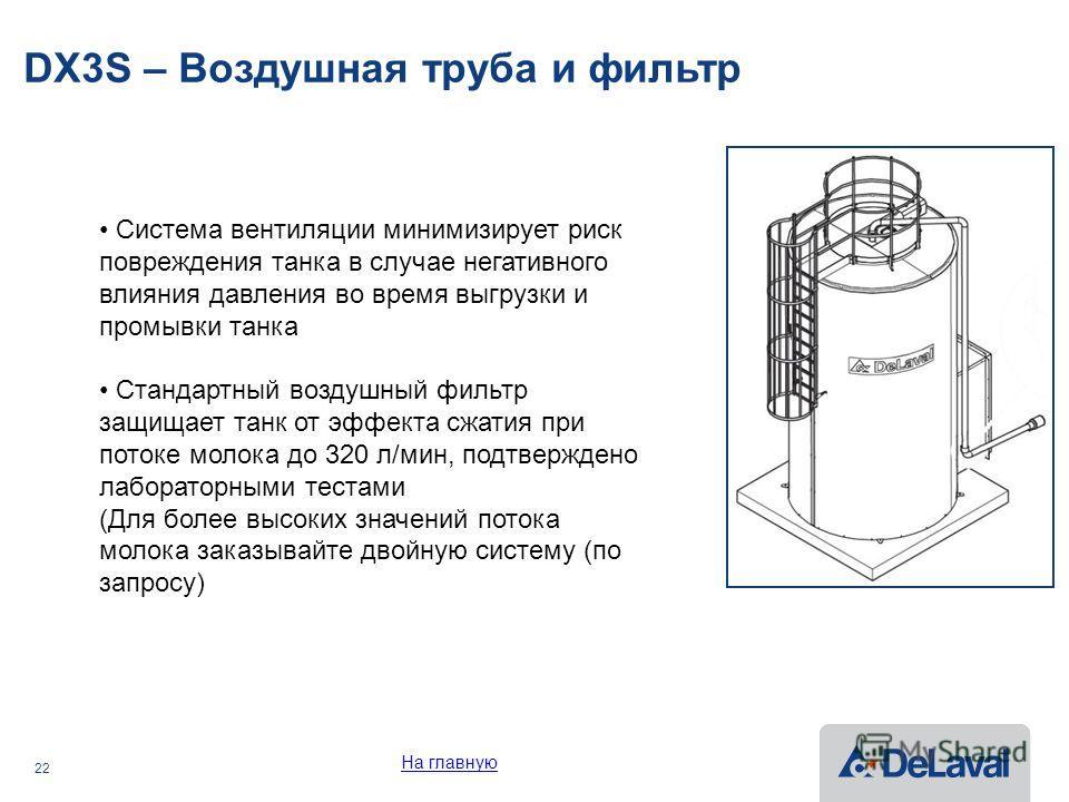 22 DX3S – Воздушная труба и фильтр Система вентиляции минимизирует риск повреждения танка в случае негативного влияния давления во время выгрузки и промывки танка Стандартный воздушный фильтр защищает танк от эффекта сжатия при потоке молока до 320 л