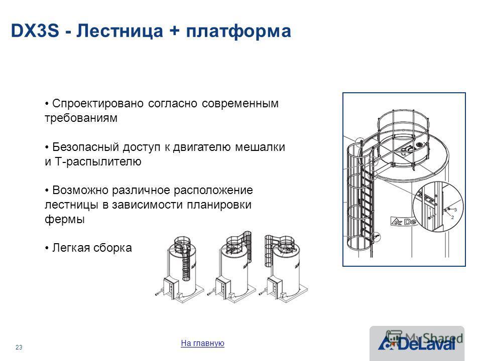 23 DX3S - Лестница + платформа Спроектировано согласно современным требованиям Безопасный доступ к двигателю мешалки и Т-распылителю Возможно различное расположение лестницы в зависимости планировки фермы Легкая сборка На главную