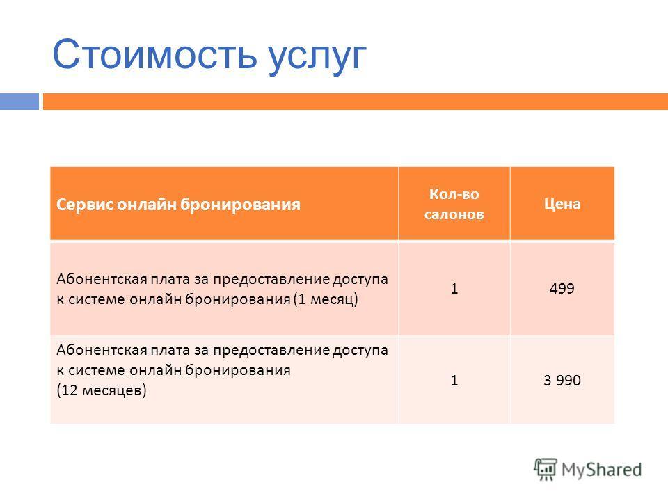 Стоимость услуг Сервис онлайн бронирования Кол - во салонов Цена Абонентская плата за предоставление доступа к системе онлайн бронирования (1 месяц ) 1499 Абонентская плата за предоставление доступа к системе онлайн бронирования (12 месяцев ) 13 990