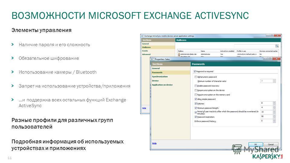 ВОЗМОЖНОСТИ MICROSOFT EXCHANGE ACTIVESYNC 11 Элементы управления Наличие пароля и его сложность Обязательное шифрование Использование камеры / Bluetooth Запрет на использование устройства/приложения...и поддержка всех остальных функций Exchange Activ