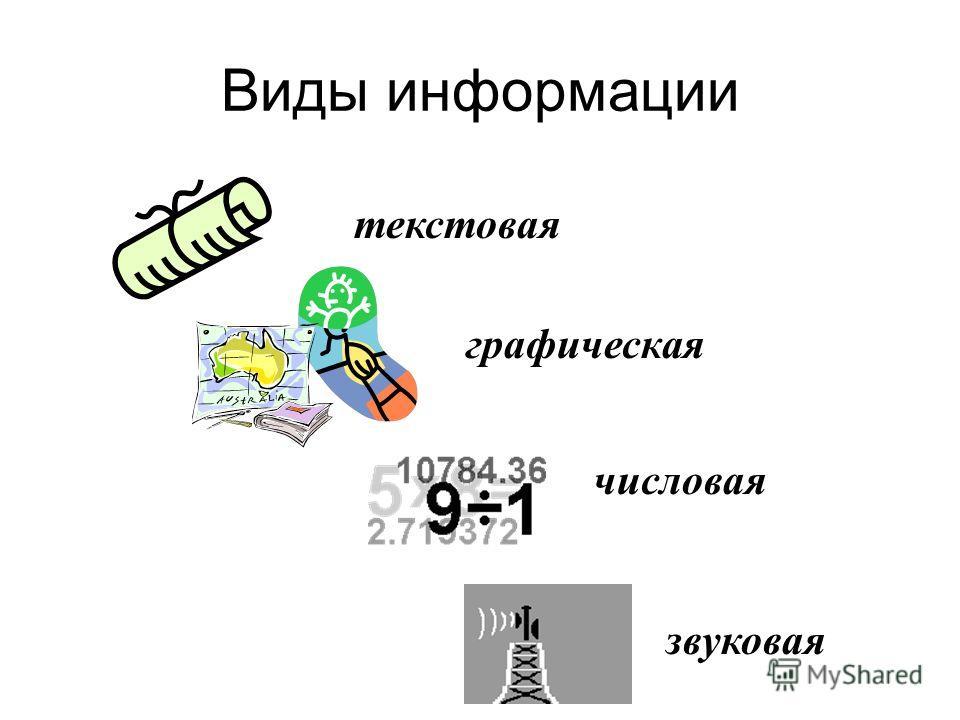 Виды информации текстовая графическая числовая звуковая