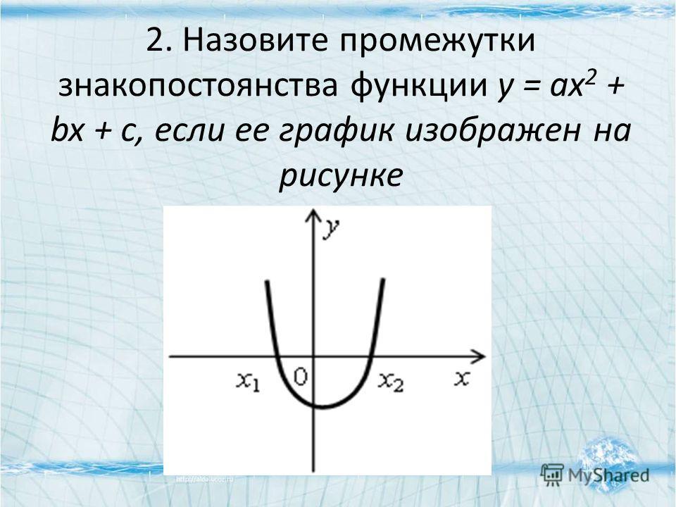 2. Назовите промежутки знакопостоянства функции у = ах 2 + bx + c, если ее график изображен на рисунке
