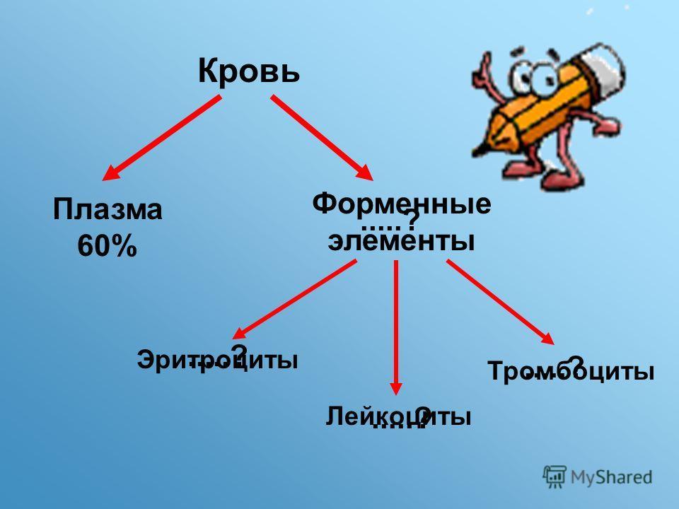 Кровь Плазма 60%.....? Форменные элементы Эритроциты Лейкоциты Тромбоциты