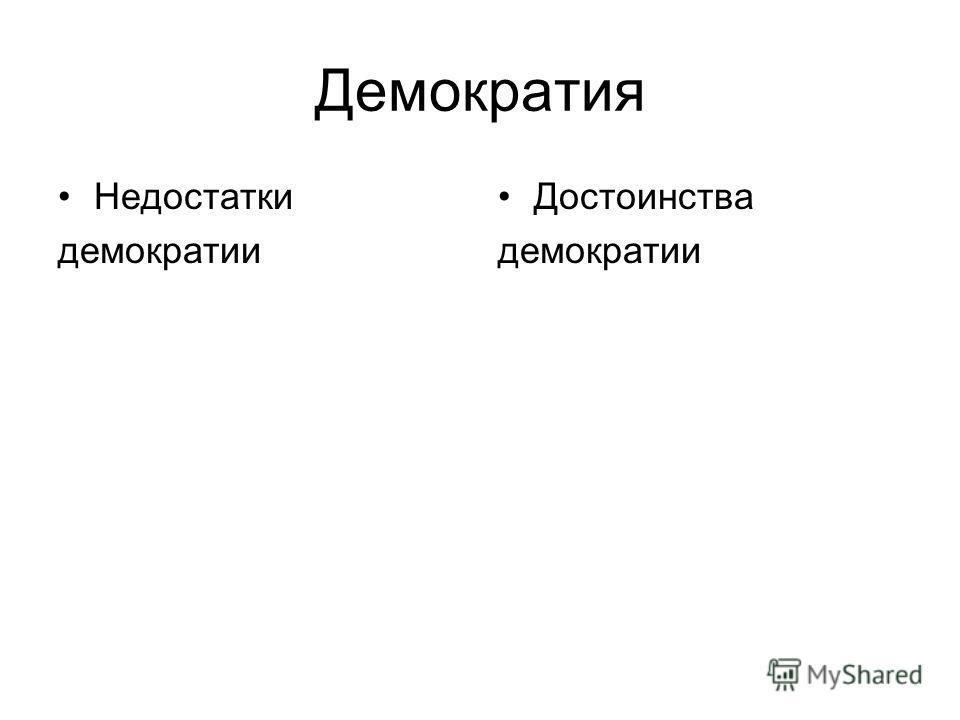 Демократия Недостатки демократии Достоинства демократии