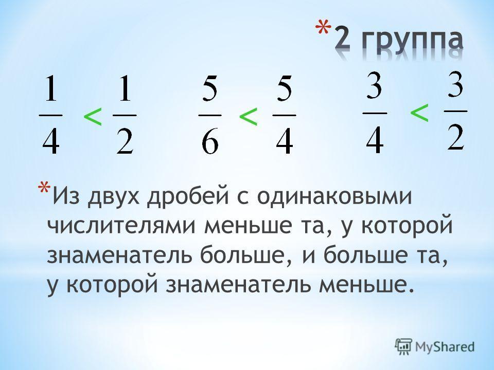 * Из двух дробей с одинаковыми знаменателями меньше та, у которой меньше числитель, и больше та, у которой больше числитель.