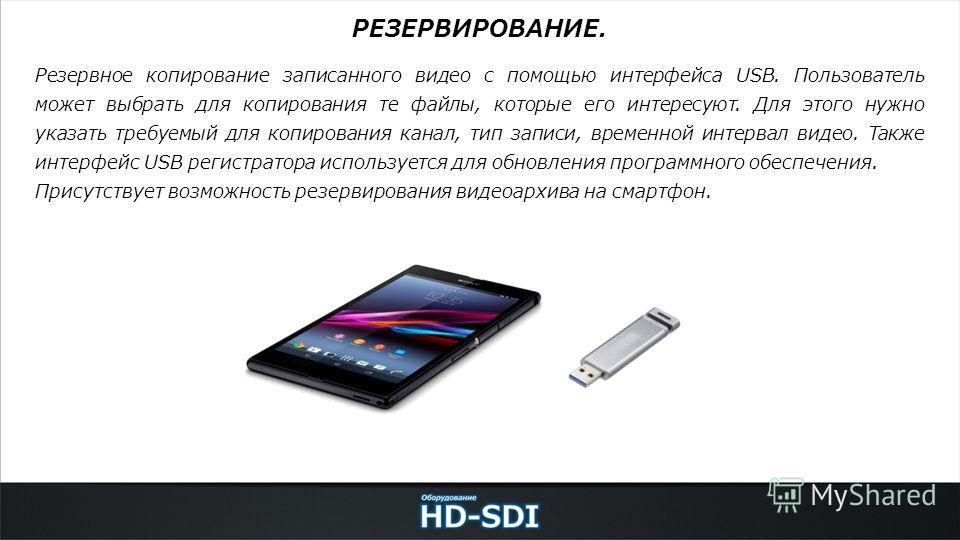 Резервное копирование записанного видео с помощью интерфейса USB. Пользователь может выбрать для копирования те файлы, которые его интересуют. Для этого нужно указать требуемый для копирования канал, тип записи, временной интервал видео. Также интерф