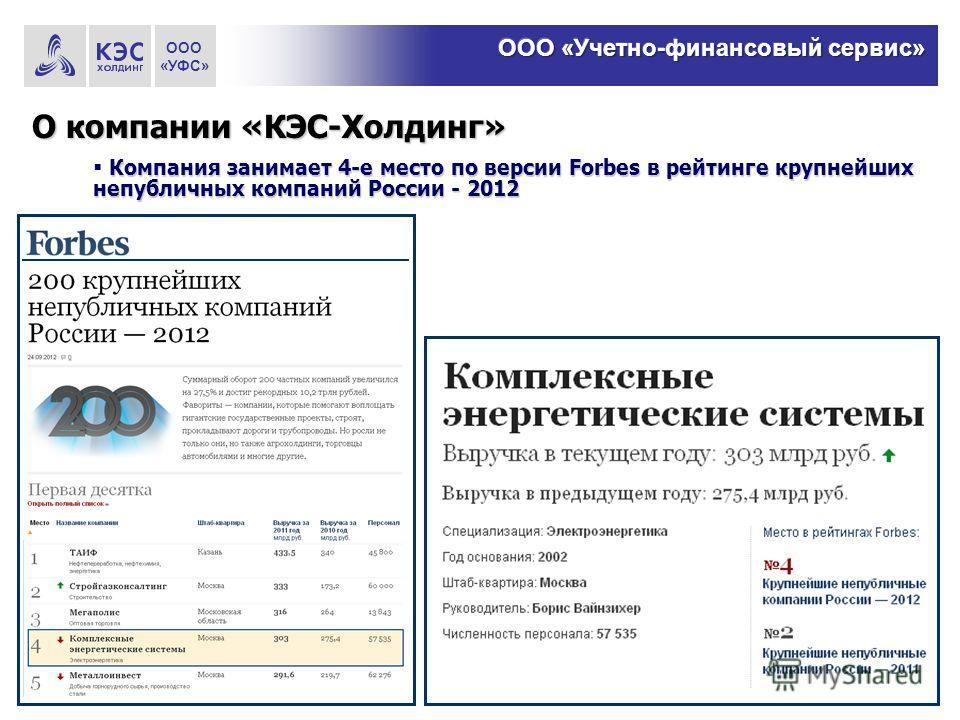 О компании «КЭС-Холдинг» Компания занимает 4-е место по версии Forbes в рейтинге крупнейших непубличных компаний России - 2012 ООО «УФС»