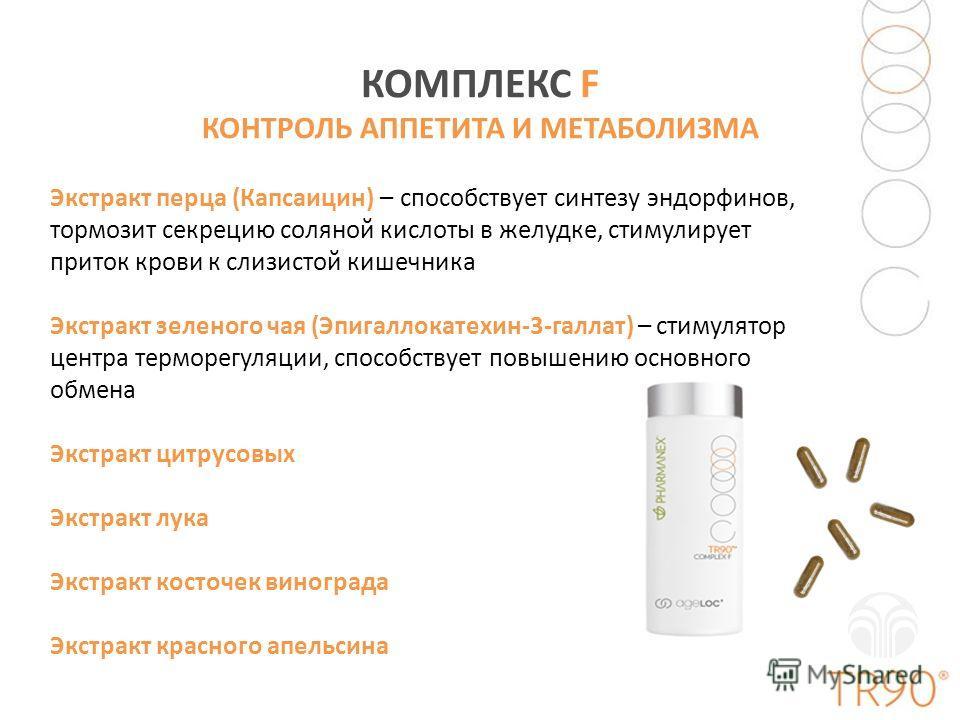 КОМПЛЕКС F КОНТРОЛЬ АППЕТИТА И МЕТАБОЛИЗМА Экстракт перца (Капсаицин) – способствует синтезу эндорфинов, тормозит секрецию соляной кислоты в желудке, стимулирует приток крови к слизистой кишечника Экстракт зеленого чая (Эпигаллокатехин-3-галлат) – ст