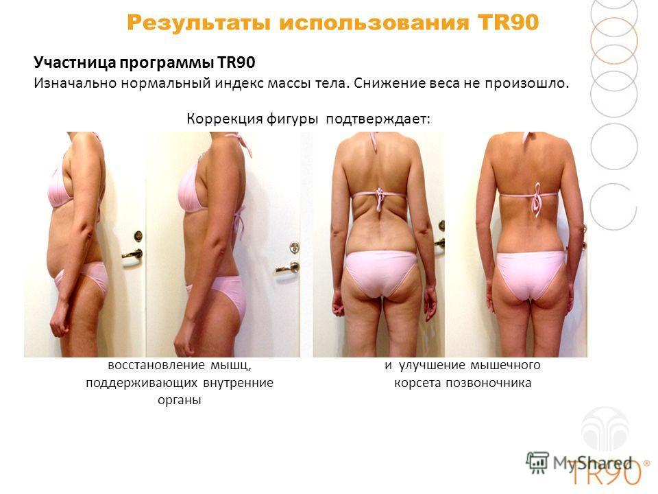 Результаты использования TR90 Участница программы TR90 Изначально нормальный индекс массы тела. Снижение веса не произошло. и улучшение мышечного корсета позвоночника восстановление мышц, поддерживающих внутренние органы Коррекция фигуры подтверждает