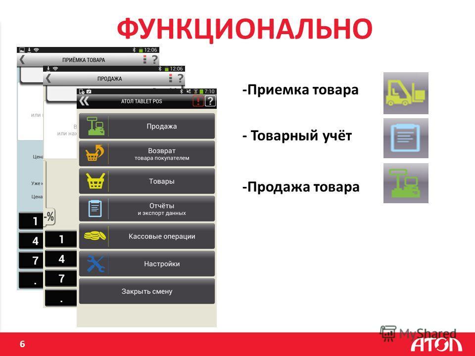 6 ФУНКЦИОНАЛЬНО -Приемка товара - Товарный учёт -Продажа товара