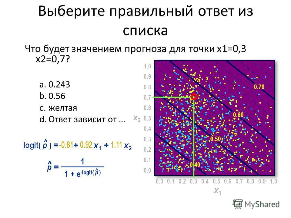 Выберите правильный ответ из списка Что будет значением прогноза для точки x1=0,3 x2=0,7? a.0.243 b.0.56 c.желтая d.Ответ зависит от … 0.00.50.10.20.30.40.60.70.80.91.0 x1x1 0.0 0.5 0.1 0.2 0.3 0.4 0.6 0.7 0.8 0.9 1.0 x2x2 0.40 0.50 0.60 0.70