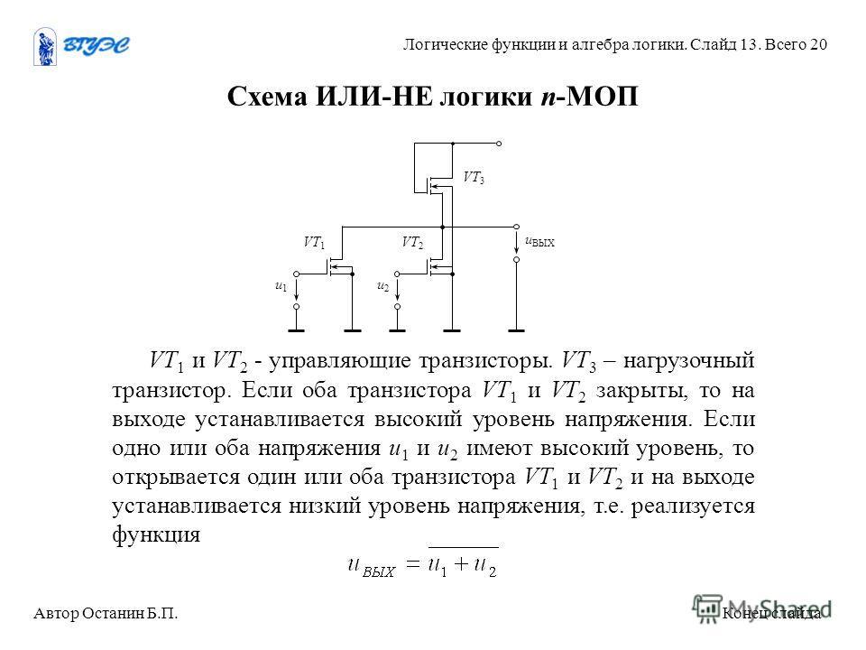 Схема ИЛИ-НЕ логики n-МОП VT 1 и VT 2 - управляющие транзисторы. VT 3 – нагрузочный транзистор. Если оба транзистора VT 1 и VT 2 закрыты, то на выходе устанавливается высокий уровень напряжения. Если одно или оба напряжения u 1 и u 2 имеют высокий ур