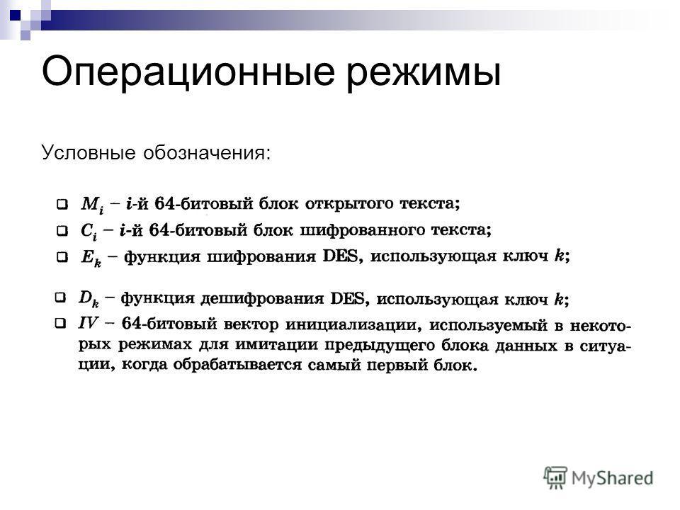 Операционные режимы Условные обозначения: