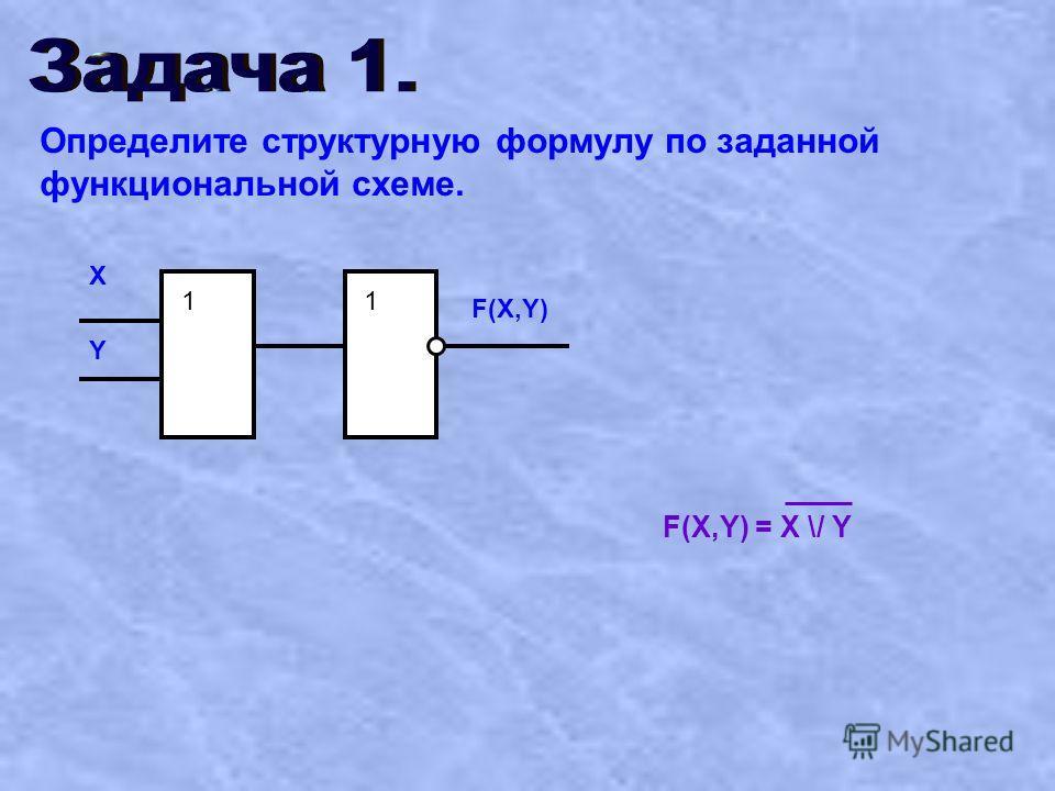 Определите структурную формулу по заданной функциональной схеме. 1 1 X Y F(X,Y) F(X,Y) = X \/ Y 1