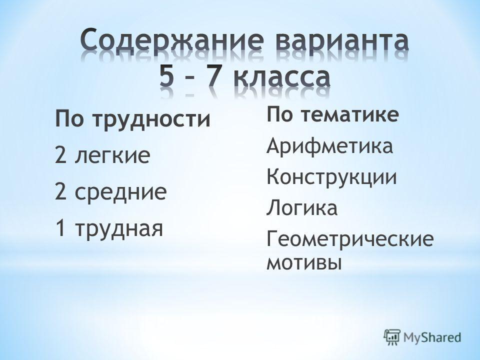 По трудности 2 легкие 2 средние 1 трудная По тематике Арифметика Конструкции Логика Геометрические мотивы