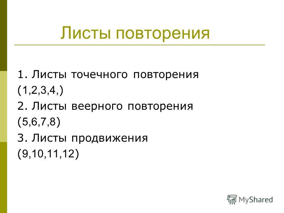 Листы повторения 1. Листы точечного повторения ( 1,2,3,4, ) 2. Листы веерного повторения ( 5,6,7,8 ) 3. Листы продвижения ( 9,10,11,12 )
