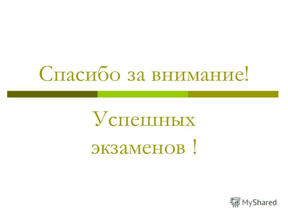 Спасибо за внимание! Успешных экзаменов !