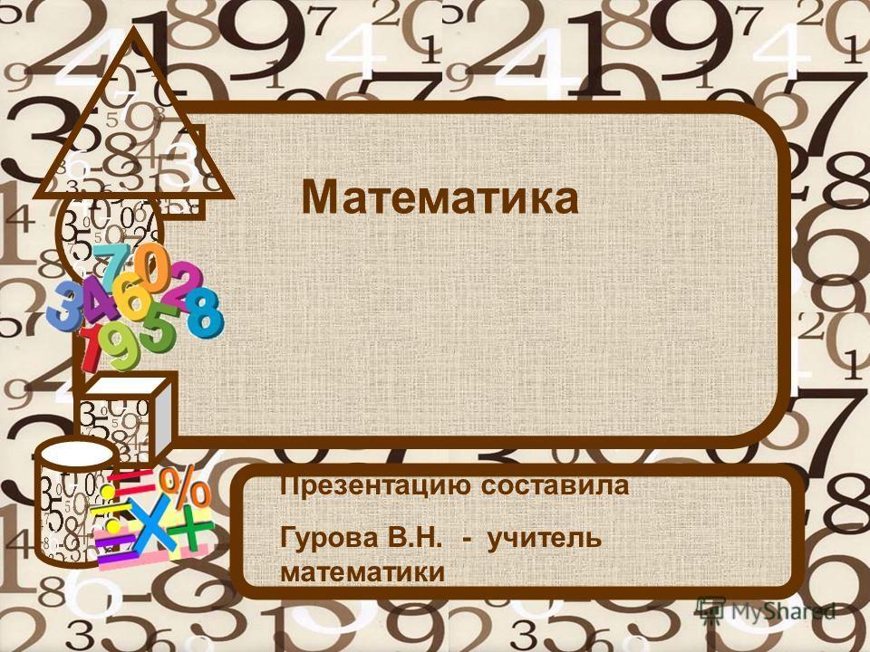 Математика Презентацию составила Гурова В.Н. - учитель математики