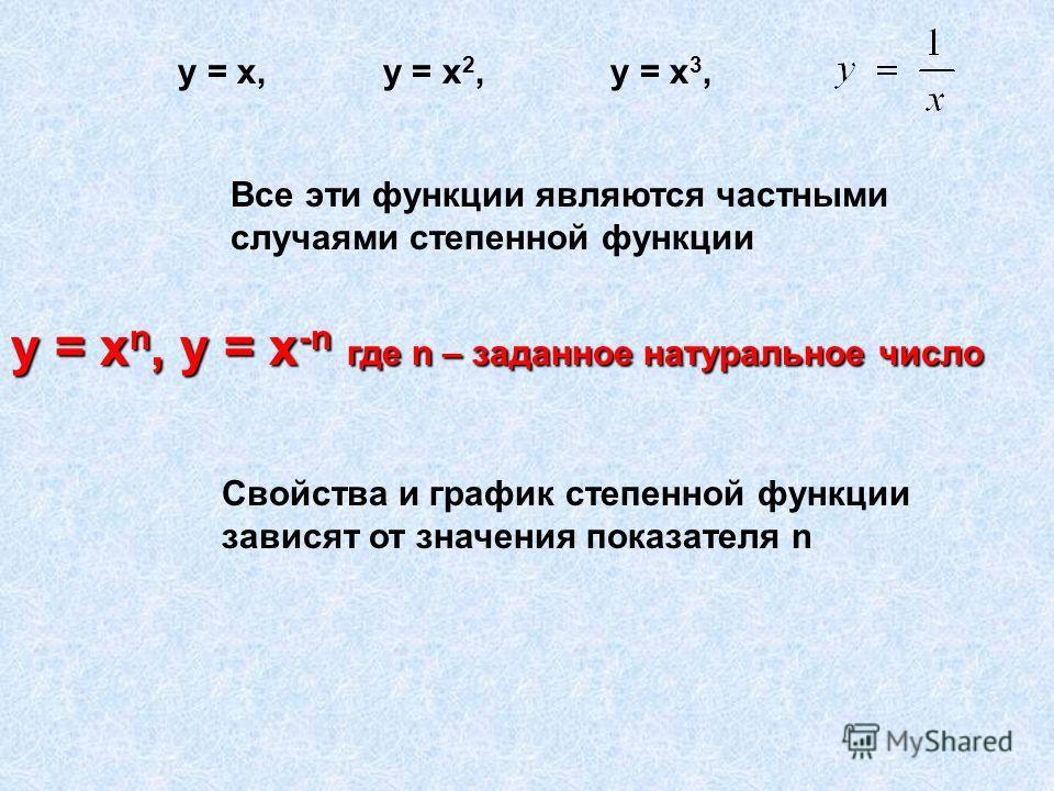 Все эти функции являются частными случаями степенной функции у = х n, у = х -n где n – заданное натуральное число Свойства и график степенной функции зависят от значения показателя n у = х, у = х 2, у = х 3,