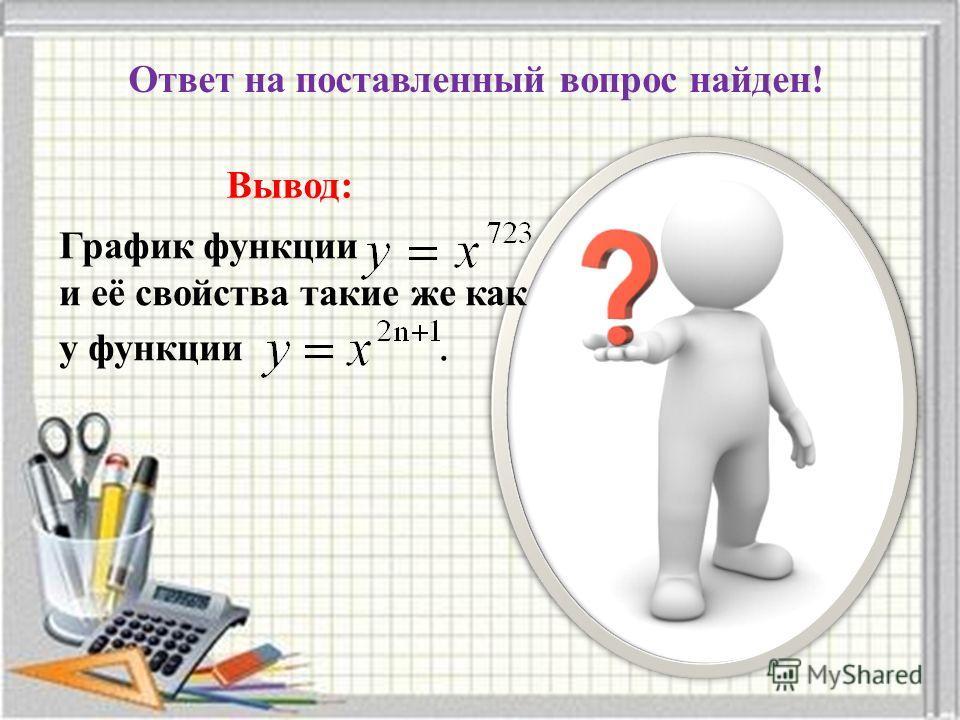 График функции и её свойства такие же как у функции. Ответ на поставленный вопрос найден! Вывод: