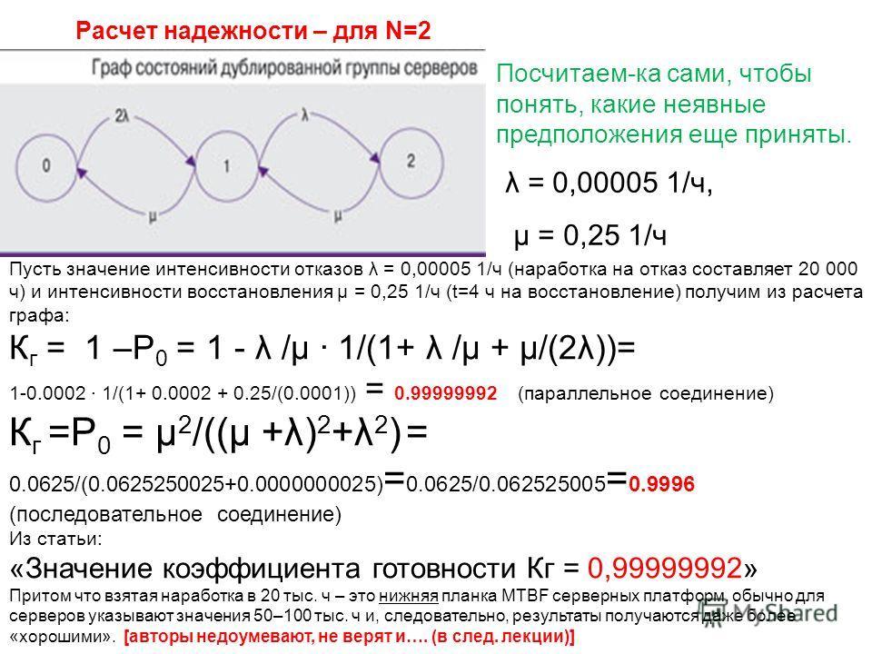 Пусть значение интенсивности отказов λ = 0,00005 1/ч (наработка на отказ составляет 20 000 ч) и интенсивности восстановления µ = 0,25 1/ч (t=4 ч на восстановление) получим из расчета графа: К г = 1 –P 0 = 1 - λ /µ 1/(1+ λ /µ + µ/(2λ))= 1-0.0002 1/(1+