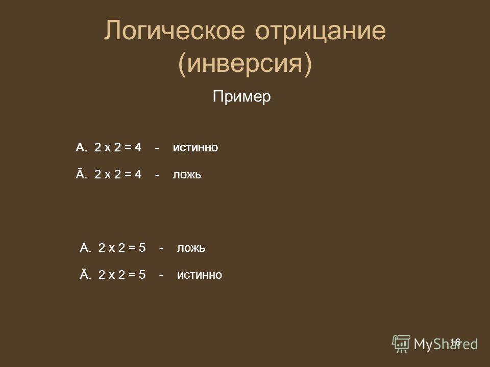 16 из 20 16 Логическое отрицание (инверсия) Пример A.2 х 2 = 5 - ложь Ā. 2 х 2 = 5 - истинно A.2 х 2 = 4 - истинно Ā. 2 х 2 = 4 - ложь A.2 х 2 = 4 - истинно