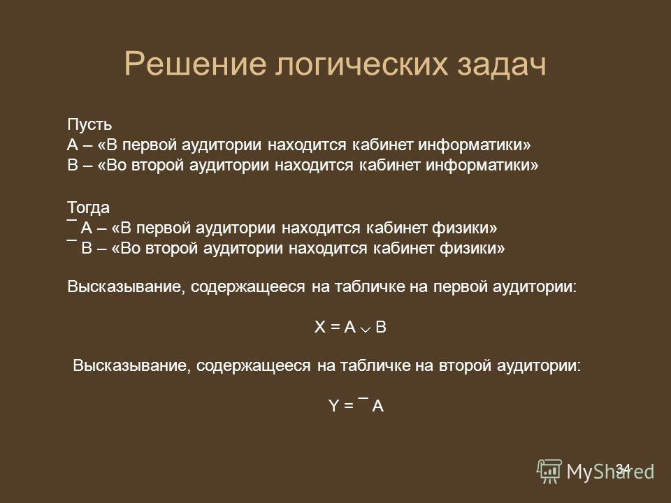 34 из 20 34 Решение логических задач Пусть А – «В первой аудитории находится кабинет информатики» В – «Во второй аудитории находится кабинет информатики» Тогда ¯ А – «В первой аудитории находится кабинет физики» ¯ В – «Во второй аудитории находится к