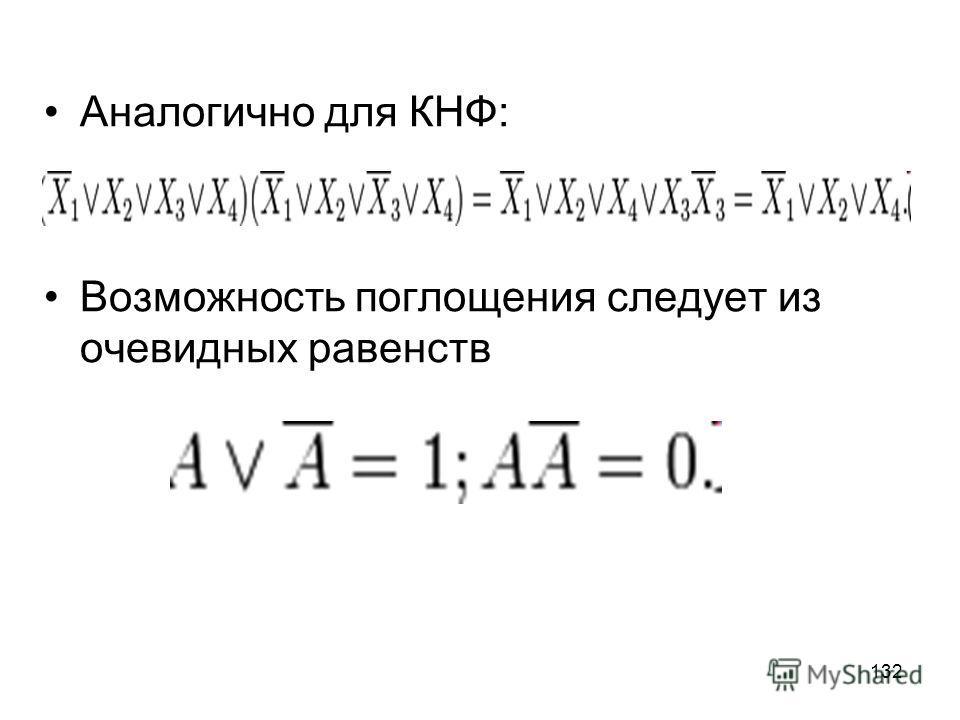 132 Аналогично для КНФ: Возможность поглощения следует из очевидных равенств