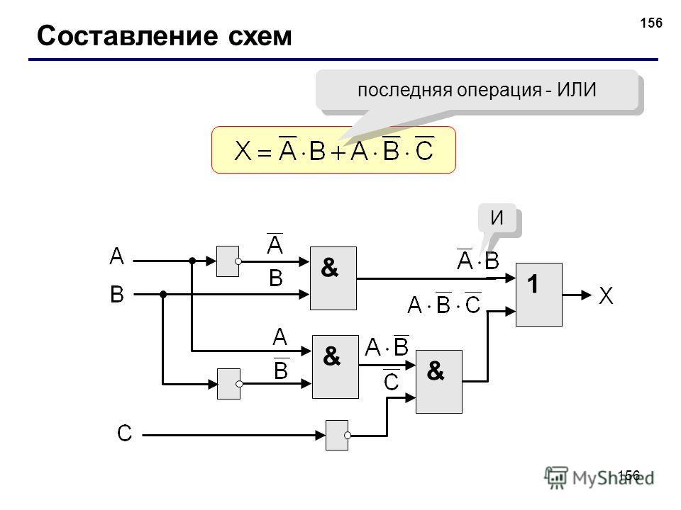 156 Составление схем последняя операция - ИЛИ & 1 & & И И