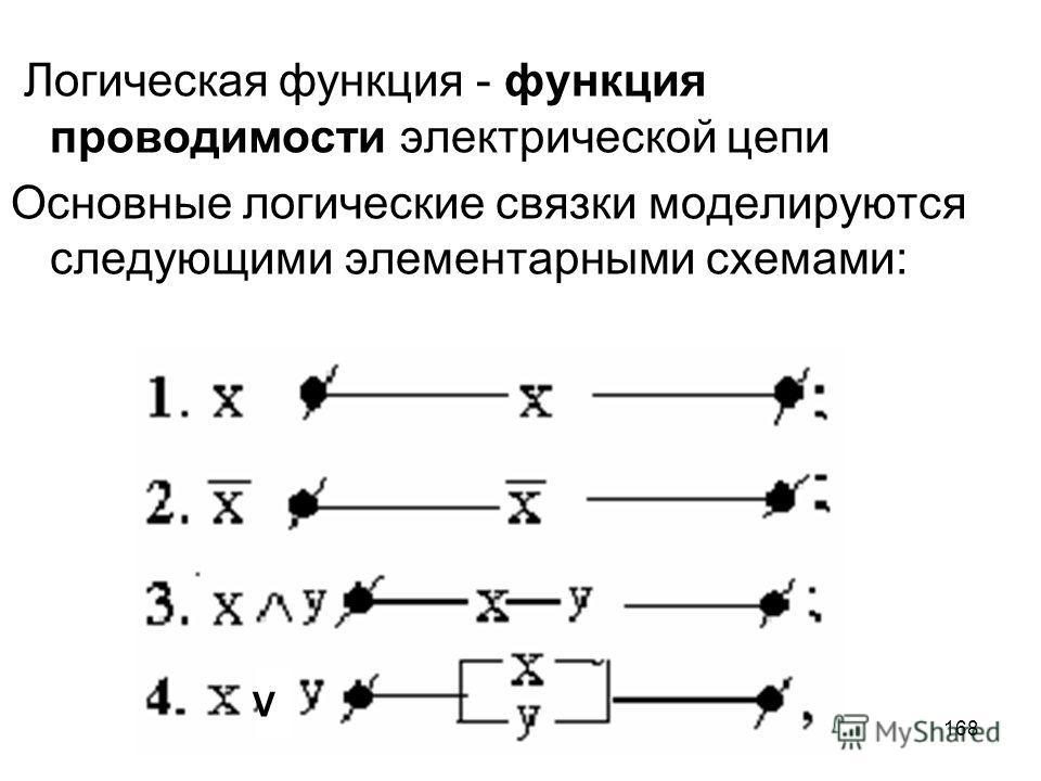 168 Логическая функция - функция проводимости электрической цепи Основные логические связки моделируются следующими элементарными схемами: V
