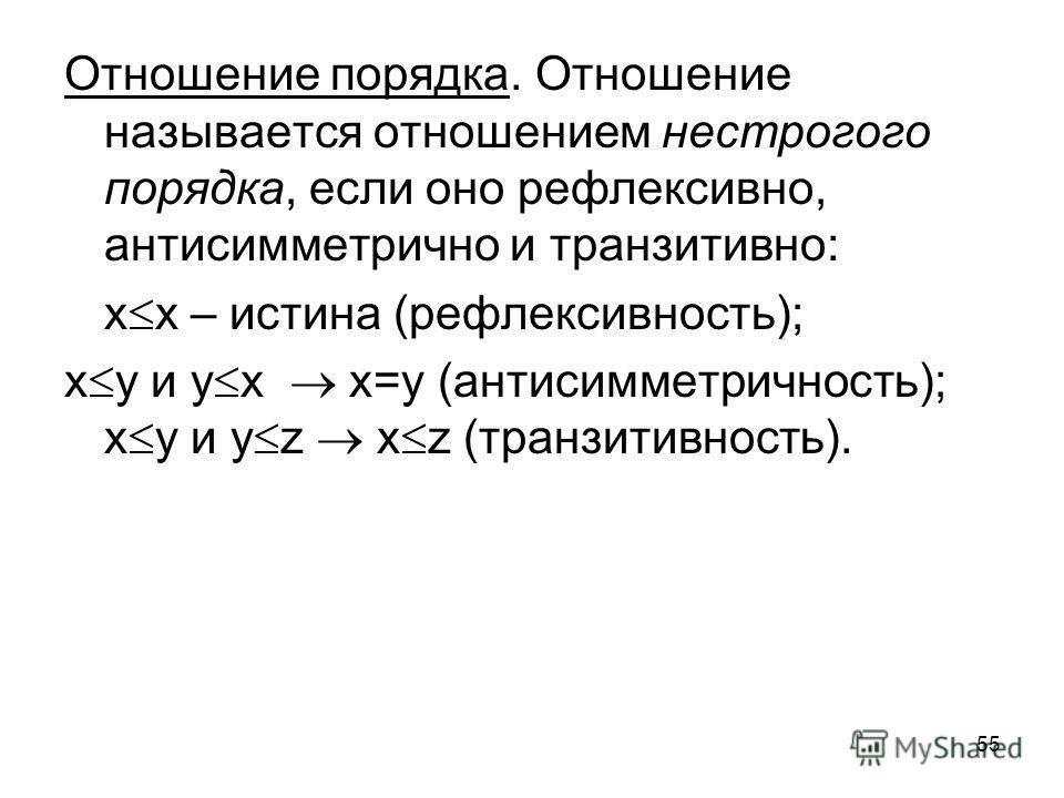 55 Отношение порядка. Отношение называется отношением нестрогого порядка, если оно рефлексивно, антисимметрично и транзитивно: х х – истина (рефлексивность); х y и y x x=y (антисимметричность); x y и y z x z (транзитивность).