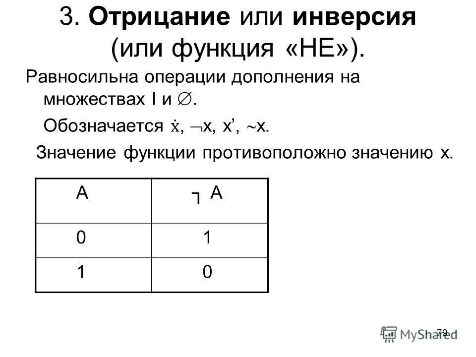 79 3. Отрицание или инверсия (или функция «НЕ»). А А 0 1 1 0 Равносильна операции дополнения на множествах I и. Обозначается, х, х, х. Значение функции противоположно значению х.