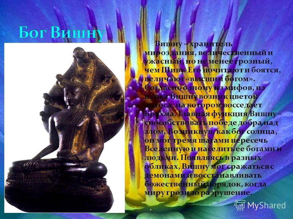 Вишну – хранитель мироздания, величественный и ужасный, но не менее грозный, чем Шиву. Его почитают и боятся, величают «высшим богом». Согласно одному из мифов, из пупка Вишну возник цветок лотоса, на котором восседает Брахма. Главная функция Вишну –